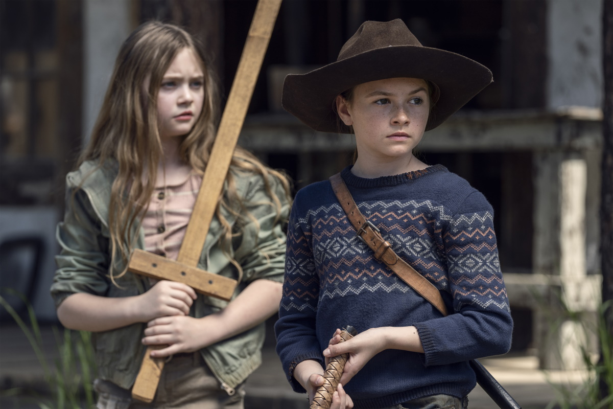 Anabelle Holloway as Gracie and Cailey Fleming as Judith Grimes, as seen in Season 11 of AMC's The Walking Dead