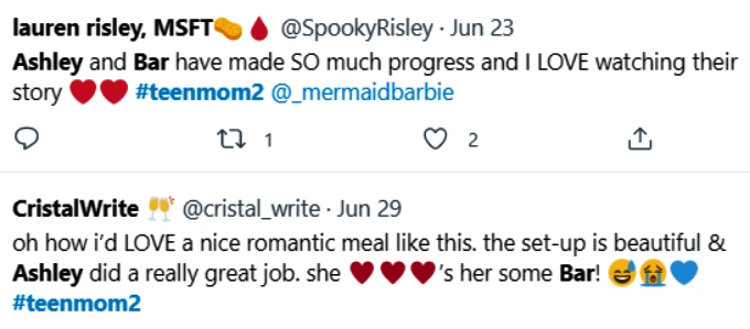 Ashley Jones and Bar Smith of Teen Mom 2 on Twitter