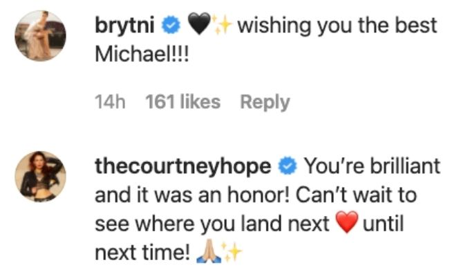 Courtney and Brytini show love for Michale.