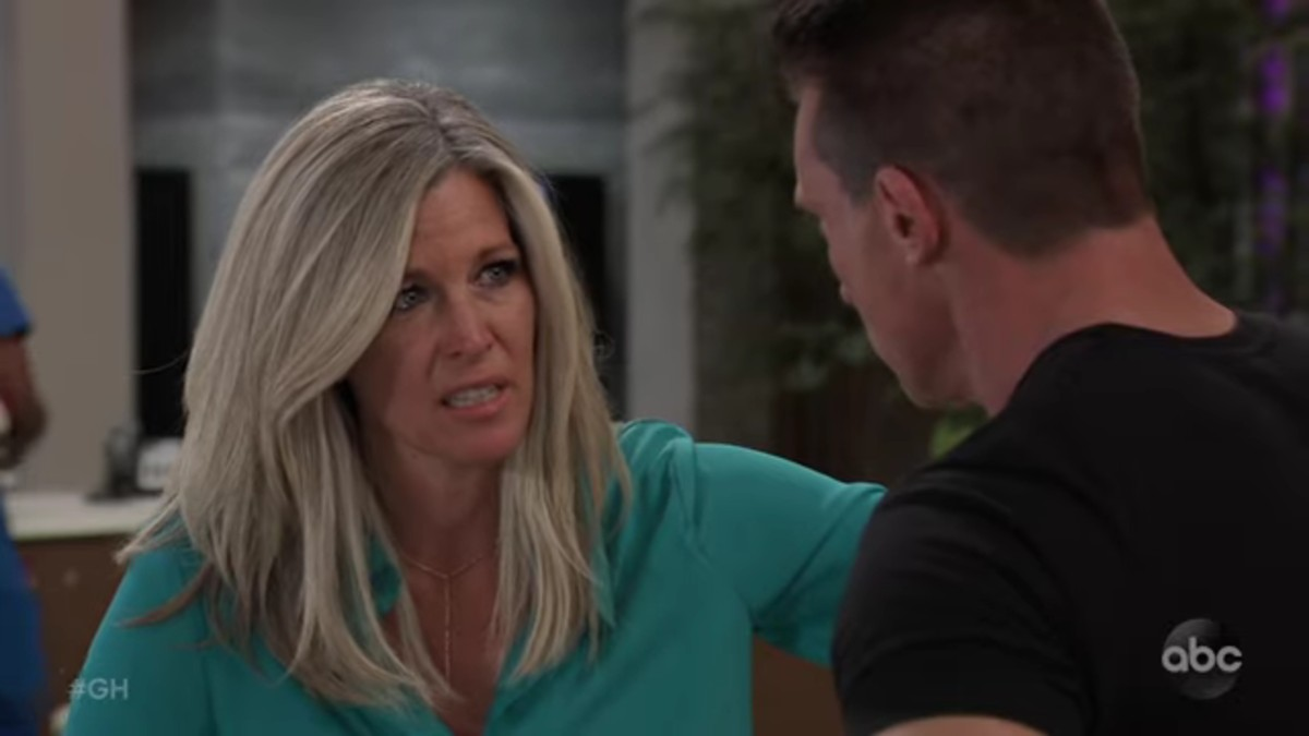 Laura Wright and Steve Burton as Carly and Jason on General Hospital.