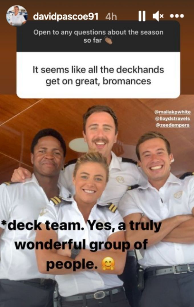 David gushes over deck crew.