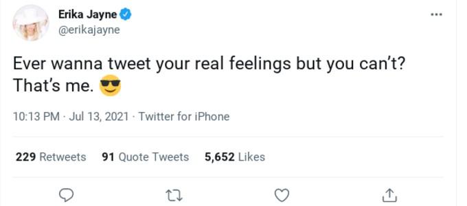 Erika Jayne's tweet.