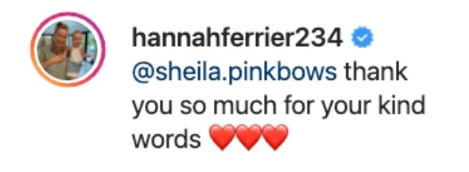 Hannah sends thanks to one supporter
