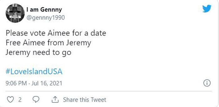 I am Gennny tweet about Love Island USA