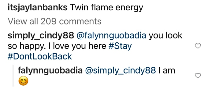 Falynn Guobadia tells fan that she's happy