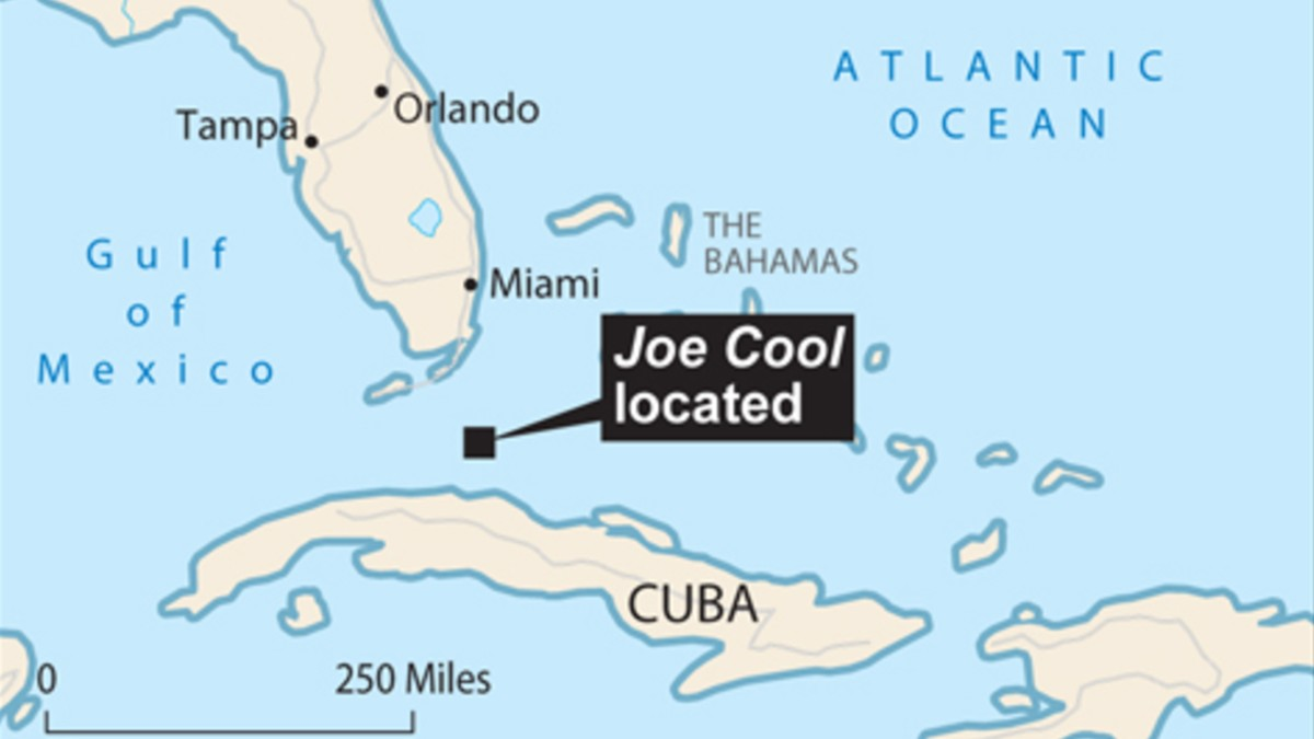 Location of Joe Cool on a map of the Caribbean