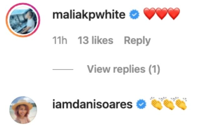 Malia and Dani comment on David's post.