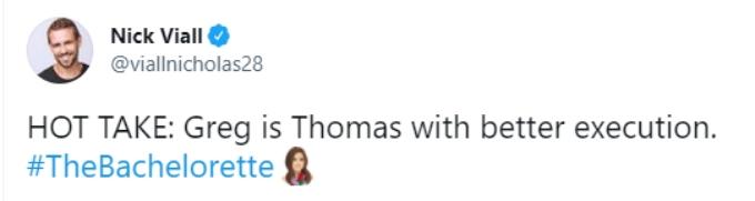 Nick Viall compares Greg to Thomas