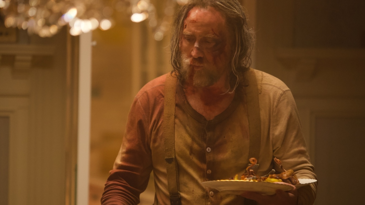 Nicolas Cage as the truffle hunter in the movie Pig.