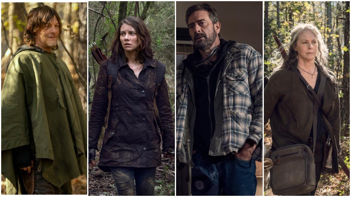 Norman Reedus as Daryl Dixon, Lauren Cohan as Maggie Rhee, Jeffrey Dean Morgan as Negan, and Melissa McBride as Carol Peletier, as seen in AMC's The Walking Dead