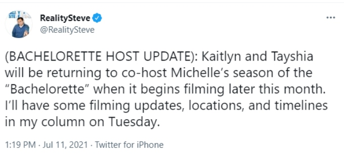 Reality Steve says Kaitlyn and Tayshia will return as hosts of Michelle Young's season
