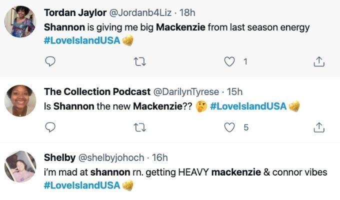 Love Island fans think Shannon is new Mackenzie