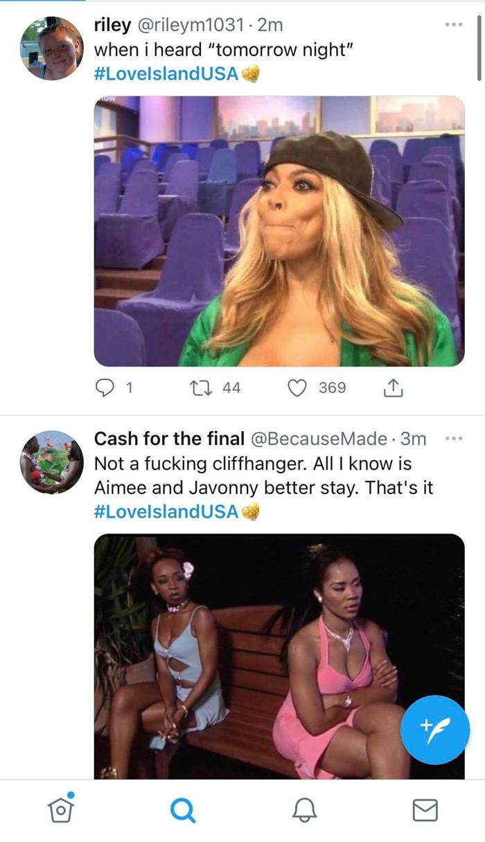 Love Island Twitter responses