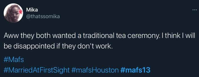 A tweet about Bao and Johnny's tea ceremony