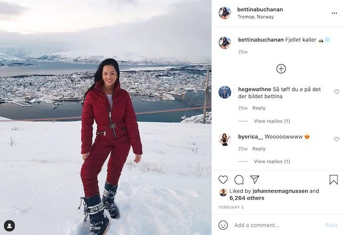bettina buchanan of the challenge in the snow