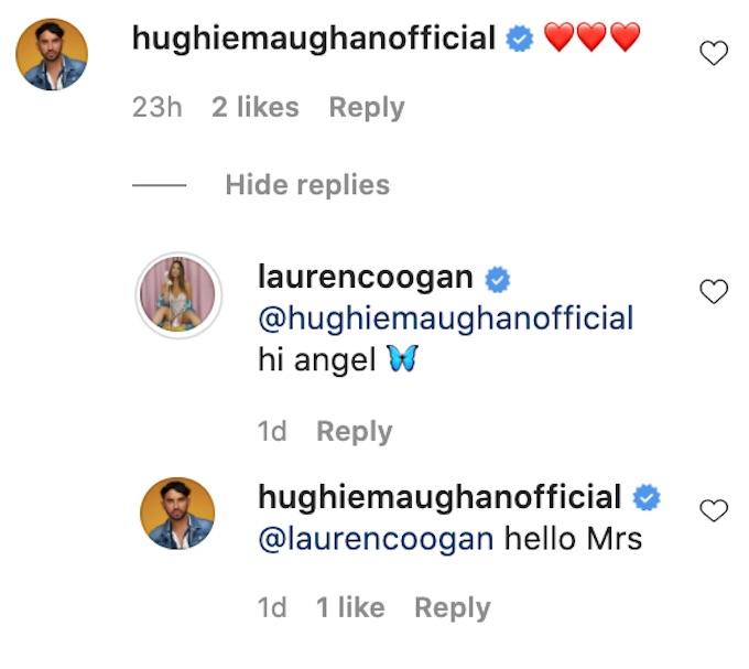 the challenge rookie hughie maughan comments lauren coogan ig post