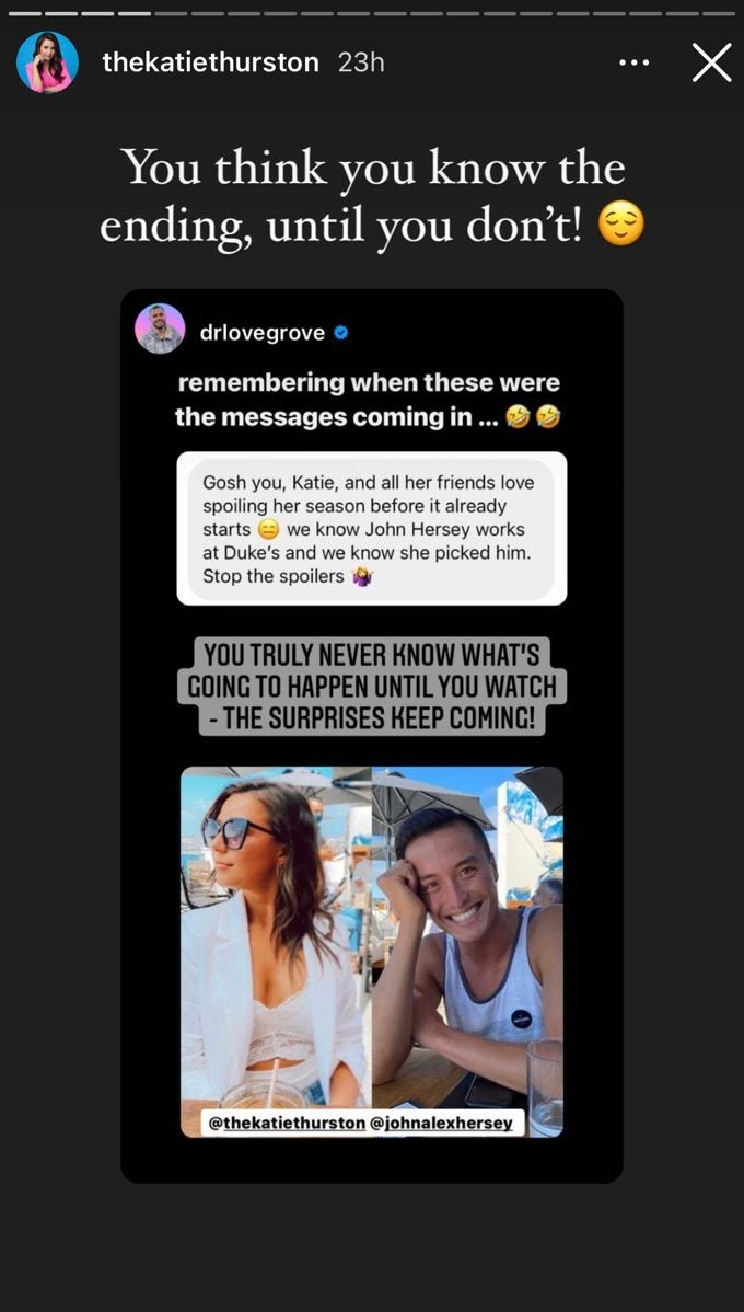 Katie shares post with a text message screenshot