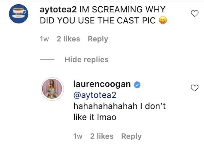 the challenge 37 lauren coogan replies to fan about photo