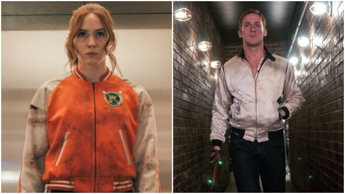 Karen Gillan from Gunpowder Milkshake on left, Ryan Gosling from Drive on right.