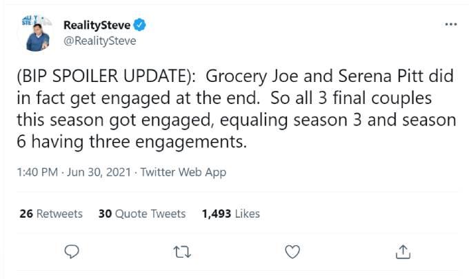 Reality Steve's tweet about Grocery Store Joe