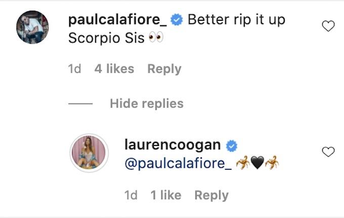 paulie calafiore comments lauren coogan ig post