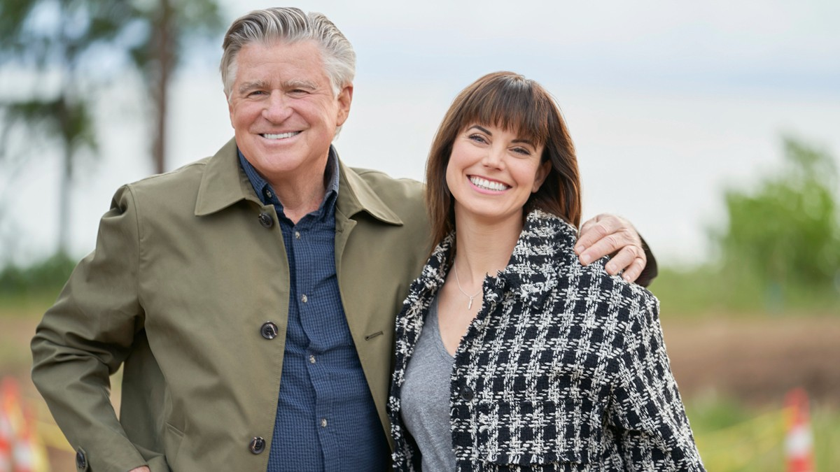 Treat Williams and Meghan Ory on the set of Chesapeake Shores.